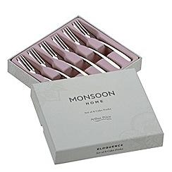 Arthur Price - Set of six 'Monsoon' stainless steel cake forks