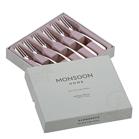 Arthur Price - Set of six +Monsoon+ stainless steel cake forks