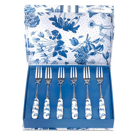 Portmeirion - Set of six +Botanic Blue+ pastry forks