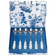 Set of six 'Botanic Blue' teaspoons