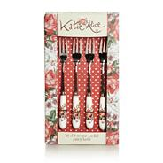 Set of four stainless steel 'Scarlet Posy' pastry forks