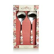Set of two stainless steel 'Scarlet Posy' salad servers