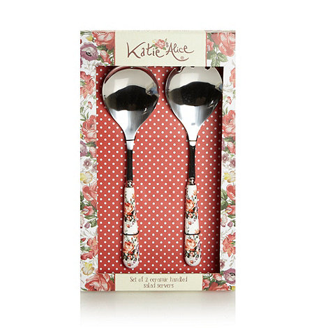 Katie Alice - Set of two stainless steel +Scarlet Posy+ salad servers