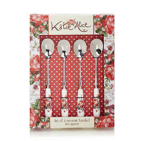 Katie Alice - Set of four stainless steel +Scarlet Posy+ teaspoons