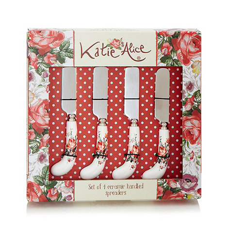 Katie Alice - Set of four stainless steel +Scarlet Posy+ spreaders