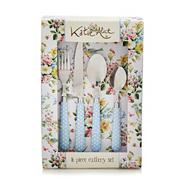 Sixteen piece 'English Garden' cutlery set