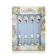 Set of four stainless steel 'English Garden' teaspoons