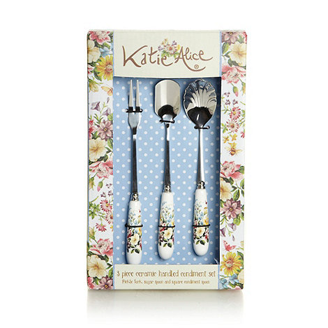 Katie Alice - Three piece blue floral ceramic handled condiment set