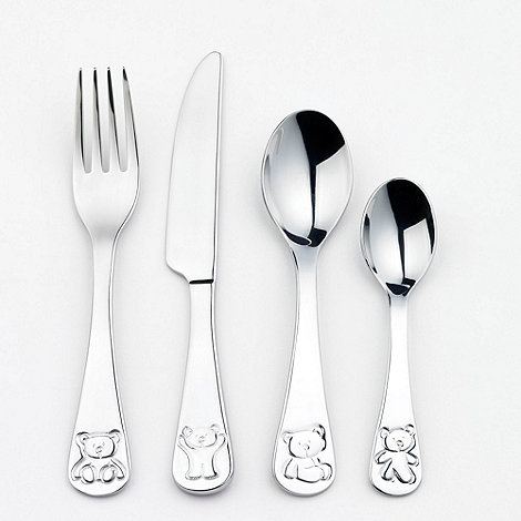 Oneida - Stainless steel debossed bear four piece cutlery set