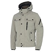 Light grey hooded Harrington jacket