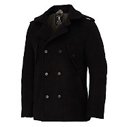 Black double breasted Italian wool coat