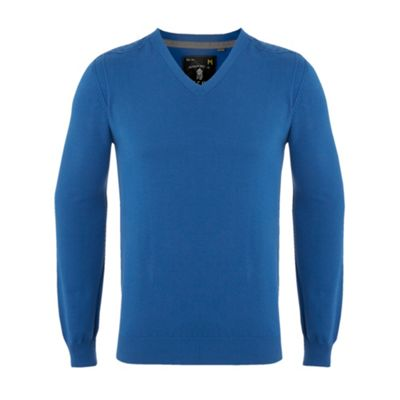 Bright blue knitted v-neck jumper