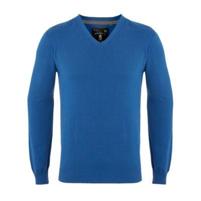 Bright blue knitted v-neck jumper