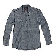 Blue long sleeved chambray shirt