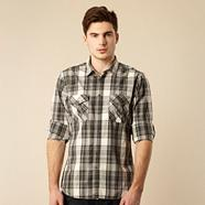 Grey slim fitting checked shirt