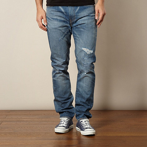 Levi+s - 508&#8482 shredded light blue regular fit jeans