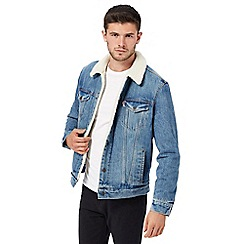 Levi's - Blue denim sherpa collar jacket