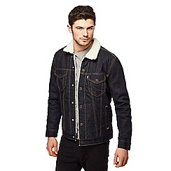 Levi's - Dark blue denim sherpa collar jacket
