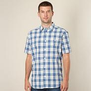 Blue embroidered pocket check shirt