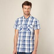 Blue textured check shirt