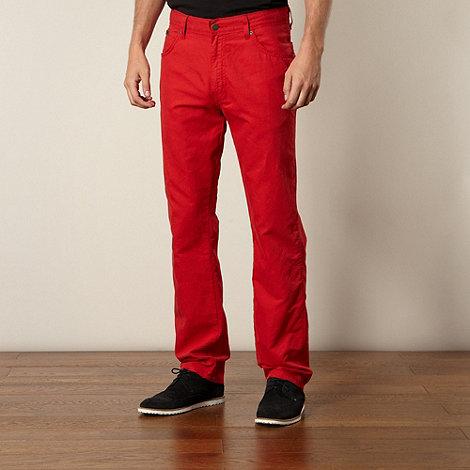 Wrangler - Red woven straight leg trousers