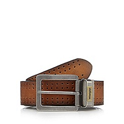 Wrangler - Big and tall tan hole detail buckle leather belt