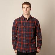 Big and tall red herringbone checked shirt