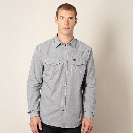 Wrangler - Big and tall black micro checked shirt