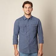 Big and tall blue woven checked shirt