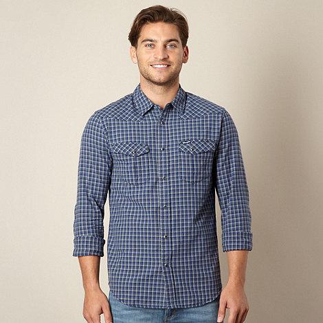 Wrangler - Blue woven checked shirt