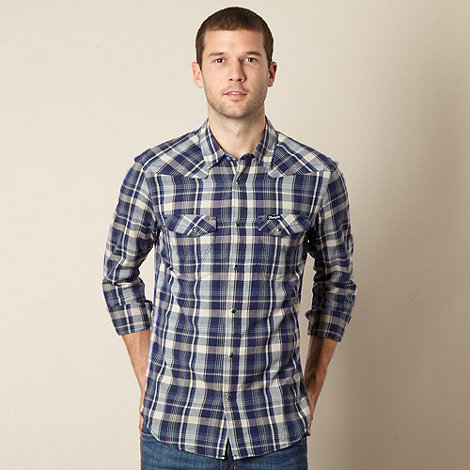 Wrangler - Big and tall blue checked casual shirt