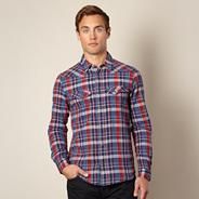 Big and tall red woven checked shirt
