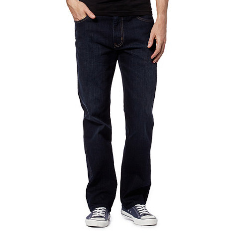Wrangler - Big and tall Arizona deep dark blue dark straight leg jeans