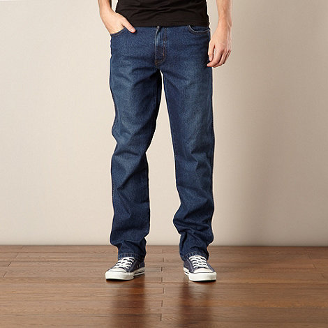 Wrangler - Texas used dark blue regular fit jeans