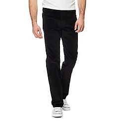Wrangler - Big and tall black 'arizona' corduroy straight leg trousers