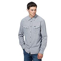 Wrangler - Blue western micro check long sleeve shirt
