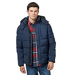 Wrangler - Navy padded hooded bomber jacket