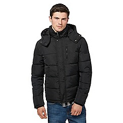 Wrangler - Black padded hooded bomber jacket
