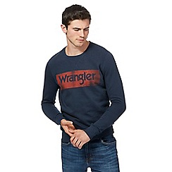 Wrangler - Navy graphic logo print sweater