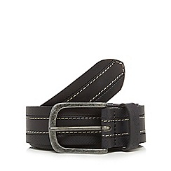 Wrangler - Big and tall black leather stitched belt