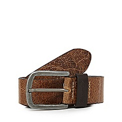 Wrangler - Big and tall brown leather textured belt