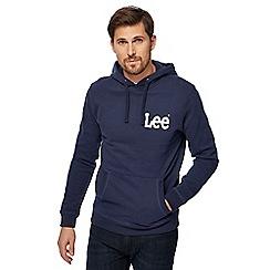 Lee - Navy logo print hoodie