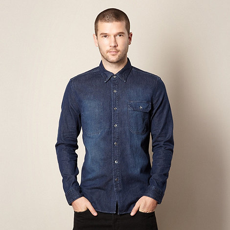 Levi+s - Navy single pocket denim shirt