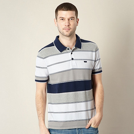 Levi+s - Navy striped pique polo shirt