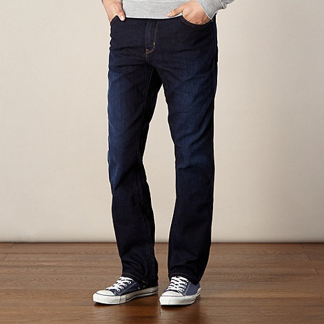 Wrangler - Big and tall Texas tough dark blue straight leg jeans