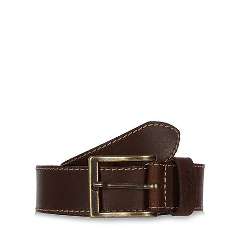Wrangler - Big and tall brown stitched leather belt