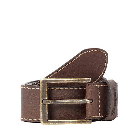 Wrangler - Brown stitched leather belt