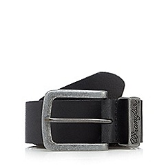 Wrangler - Big and tall black leather metal keeper belt