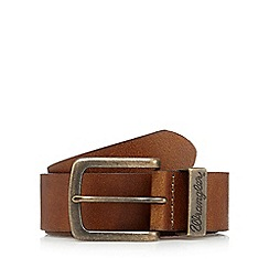 Wrangler - Big and tall tan leather metal loop belt