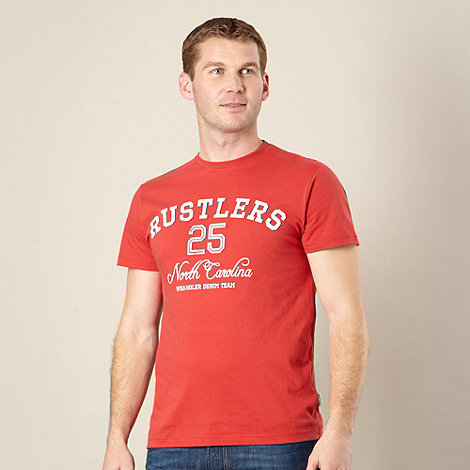 Wrangler - Big and tall red +rustlers+ graphic t-shirt